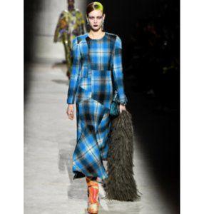 Dries Van Noten Blue Plaid Check 100% Wool Maxi Dress